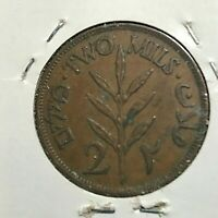 1942 PALESTINE 2 MILS NICE BRONZE  COIN