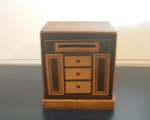 vintage inlaid wooden money box