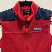 Vineyard Vines Womens Fleece Vest XL Red  Whale Logo Side Zip Pockets