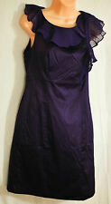 womens Merona dark purple dressy dress size 6 ruffle at neck sleeveless party!