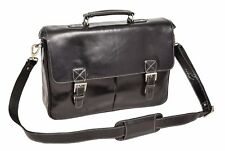 NEW Mens Briefcase BLACK Real Leather Shoulder Laptop Documents Office BAG Brig
