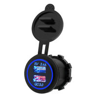12V Dual USB Charger Socket Power Outlet Quick Charge 3.0 & 2.4A For Car Boat RR