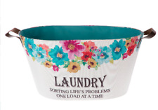 """NEW! Pioneer Woman Laundry Basket Breezy Blossom """"Sorting Life's Problems"""" Teal"""