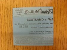 20/01/1979 Ticket: Rugby Union - Scotland v Wales [At Murrayfield] (Creased). An