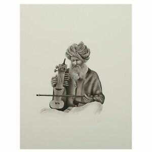 Indian Artist Playing Musical Instrument Paper Painting Black & White Décor...