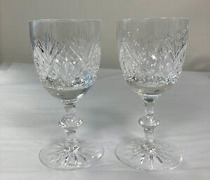 Edinburgh Crystal Iona Pattern Pair of White Wine Glasses 13.5cm tall