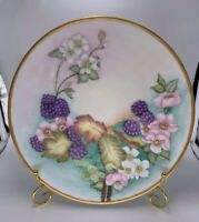 "Vintage Handpainted Blackberries 10"" Hanging Plate Gold Rim Signed Purple Pink"
