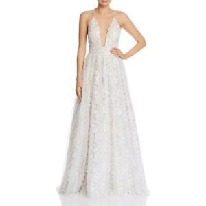 Aidan by Aidan Mattox Womens Ivory Embroidered Formal Dress Gown 12 BHFO 8875