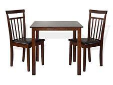 Dining Kitchen 3 PC SET Square Table 2 Warm Chairs Dark Walnut