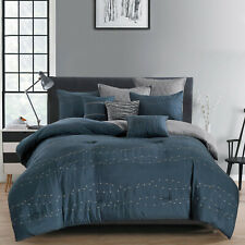 8Pcs Luxury Embroidery Comforter Set Bed In A Bag,King/Cal King ,Arlo Navy