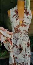 BANANA REPUBLIC Ivory Rust Floral Silk Wrap Dress Lined Size 4 NWOT