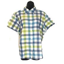 Lemon Grass Womens L Blue Green Shirt Plaid Button Front Top Short Sleeve Blouse