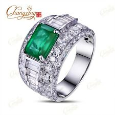 18k White Gold 1.68ct Natural Emerald 2.8ct Round & Baguette Diamond Mens Ring
