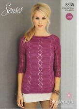 "Stylecraft Knitting Pattern 8835 Ladies Lacy Lace Weight Sweaters 32-50"" NEW"