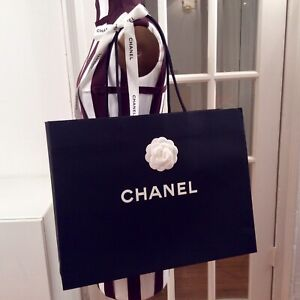 """Chanel 🎁/ Shopping  Bag With Logo, Camelia Flower And Ribbon Large 17""""x13""""x6"""""""