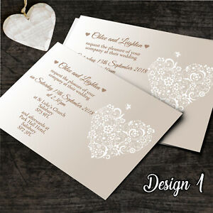 Personalised Wedding Invitations Day or Evening Invites Post Cards