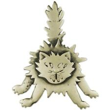 Scared Angry Cat Brooch Pin New Matte Silver Plated Halloween