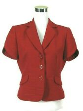 Tahari ASL Blazer Sz 6 Red Textured All Season Jacket Short Petal Sleeves NWOT