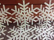 "Lot 16 Snowflakes 4"" Christmas Tree Ornaments Winter Glitter Decoration Frozen"