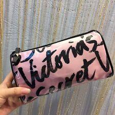 Victoria's Secret beauty make up cosmetic bag PINK BLACK VS oval Large size