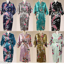 Ladies Satin Floral Peacock Chemise Nightdress Robe Kimono Dressing Gown Wrap