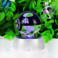 New 3D LED Crystal Pokeball Pokemon Mewtwo Night Light Table Desk Lamp Gift