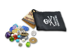 BAG OF PIRATE TREASURE FILLED WITH FAUX PEARLS AND GEMSTONES METAL COINS LOOTBAG