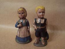 Vintage Pilgrim Boy and Girl Duncan Ceramic Figurines Handpainted