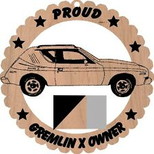 AMC Gremlin X Wood Ornament Engraved Large 5 3/4 Inches Round