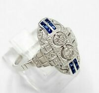 Saphir Ring  Saphir & Brillant  Art Deco   925er Silber    # 56