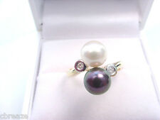 BLACK & WHITE CULTURED AKOYA SALTWATER PEARLS  7.5 mm and DIAMONDS 14K GOLD RING
