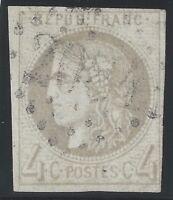 n°41B Bordeaux timbre classique 4c Gris R2 TB oblitéré GC 1870 - Signé Calves