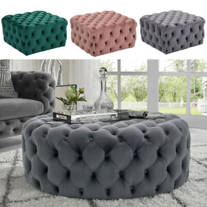 Large Chesterfield Footstool Square/Round Button Pouffe Ottoman Coffee Table NEW