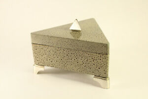 MCM Alessandro For Mikasa Gray Triangle Lacquer Dresser Footed Jewelry Box