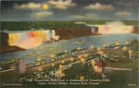 Postcard Illuminated Night View of American & Canadian Falls A25
