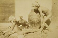 Dwóch nagich chłopców w turbanach ca. 1900 akt nude - 23 x 17 cm
