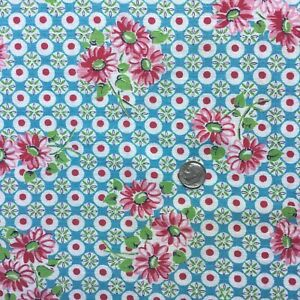 """Vintage Partial Feed Sack Small Pink Floral, Dots, Blue Background. 15"""" x 18.5"""""""