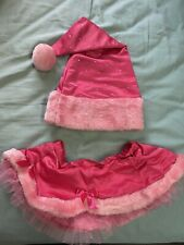 Victorias Secret Santa Baby Rhinestone Fur Satin & Tule Skirt & Hat Set