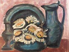 Très Belle Peinture Helene Martin Huile Papier Expressionniste Nature Morte 1950