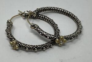 """Barbara Bixby Sterling Silver 925 18k Beaded Flower Hoop Earrings 1"""" (7.59g)"""