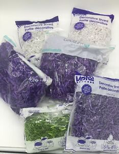 15 OZ CRINKLE PAPER EASTER GRASS - REMNANT WHITE, PURPLE, GREEN