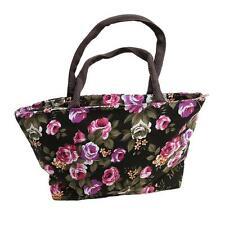Women Elegant Canvas Flowers Painted Shopping Handbag Tote Shoulder Bag MA