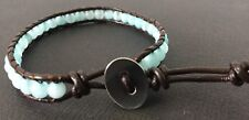 Real Leather Wrap Bracelet With Jade Stones Unisex