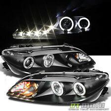 Black 2003-2006 Mazda 6 Mazda6 LED Halo DRL Projector Headlights Headlamps Pair