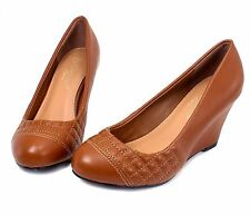 "Akina-3 Pumps Casual Cute Wedges Party Prom 3"" High Heel Women's Shoes Tan 8"