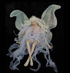 FAIRY #1 Sitting in Lilac fabric dress - Beautiful Wings, flowing hair figurine