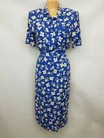 JAEGER Ladies 2 piece set shirt and skirt blue floral viscose size 10 02