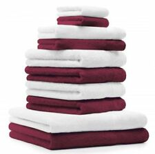 Betz Juego de 10 toallas CLASSIC 100% algodón de color rojo oscuro y blanco