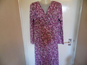 Ladies Multicolour Long Sleeve Dress with Crossover Neck, size 12