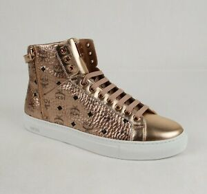 $595 MCM Men's Champagne Gold Metallic Coated Canvas High Top Sneaker MEX8AMM52T